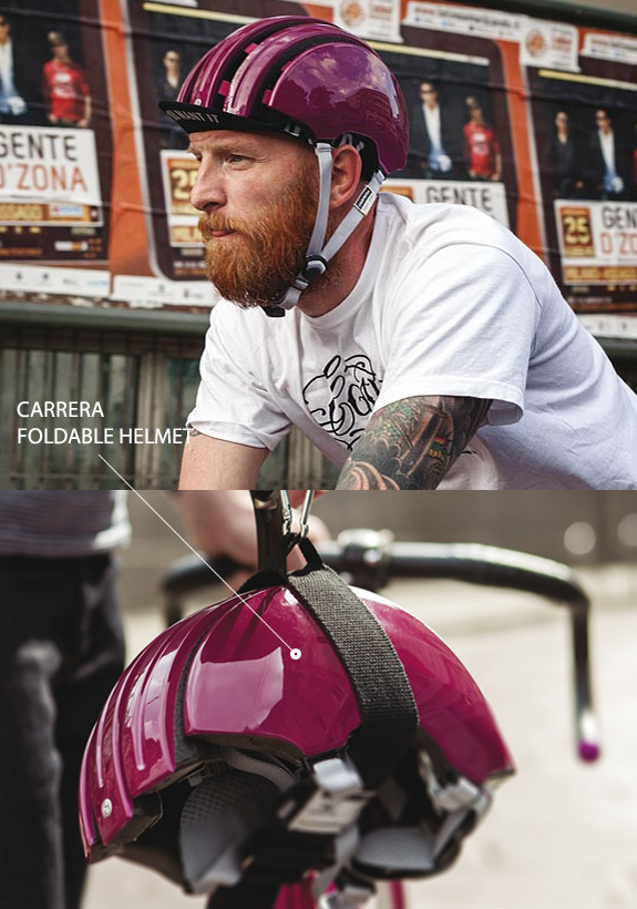 the new foldable helmet by carrera is the revolution in the city bike protection its design is inspired by the old pistards helmet made in leather