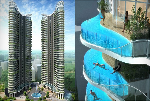 Aquaria grande floating balcony pools - Swimming pool construction in india ...