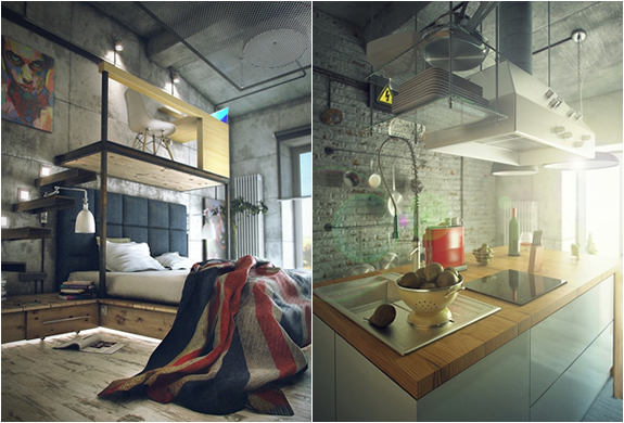 Industrial bachelor loft by maxim zhukov - A loft apartment bachelor pad ...