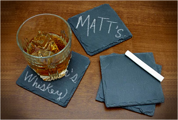 CHALKBOARD SLATE COASTERS | KEEP TRACK OF YOUR DRINK | Image