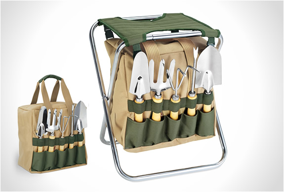 Gardener Folding Chair With Tools | Image