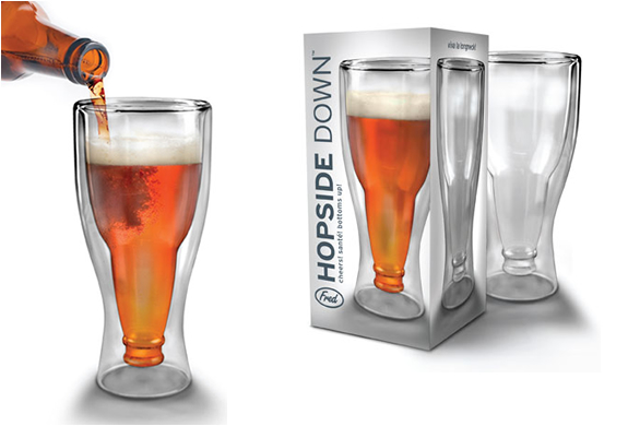 Hopside Down Beer Glass | By Fred And Friends | Image