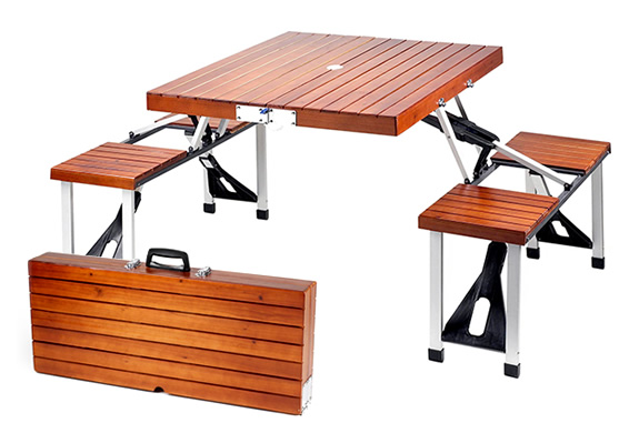 PORTABLE WOODEN PICNIC TABLE WITH STORAGE CASE | Image