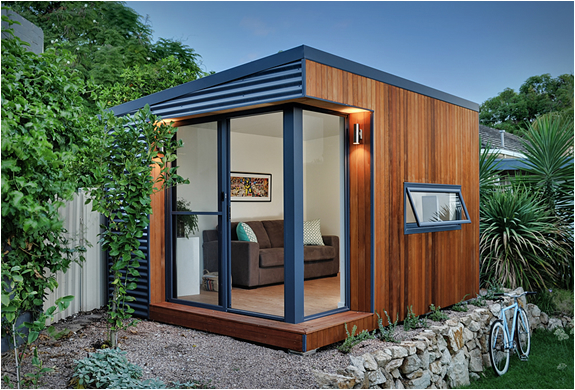 Backyard offices by inoutside for Prefabricated garden rooms