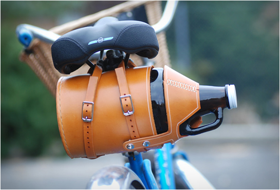 Leather Bike Growler Carrier | Image