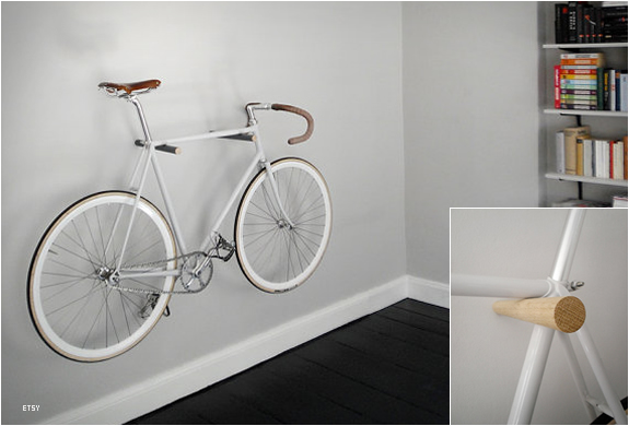 Minimal Wooden Bike Hook