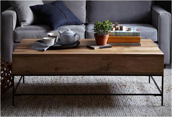 Mango Wood Storage Top Coffee Table