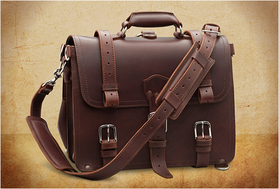 VINTAGE HANDMADE LEATHER BRIEFCASE | Image