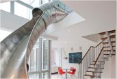 DUPLEX APARTMENT IN NY WITH A SLIDE | BY TURETT COLLABORATIVE ARCHITECTS