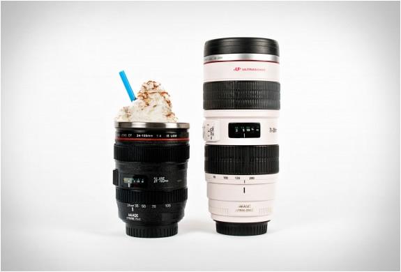white canon camera lens mug